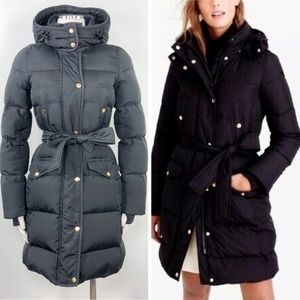 J. Crew Wintress Puffer Down Belted Coat Hooded XS